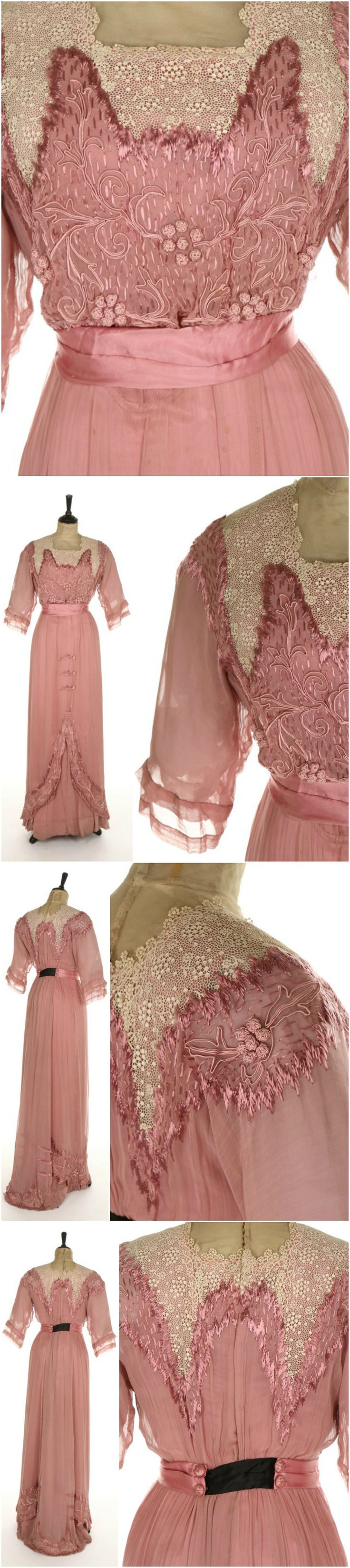 An Anna Weber of Karlsruhe, Germany embroidered pink muslin dress, the bodice and hem edges with soutache braid and French knots, floss silk edges and faux Alençon lace, satin waist sash. Circa 1910-11. Kerry Taylor Auctions.