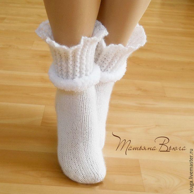 Купить Адажио. Носки вязаные, шерстяные, подарок ручной работы - белый, носки вязаные
