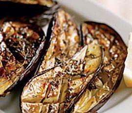Grilled Eggplant with Garlic-Cumin Vinaigrette with Feta & Herbs