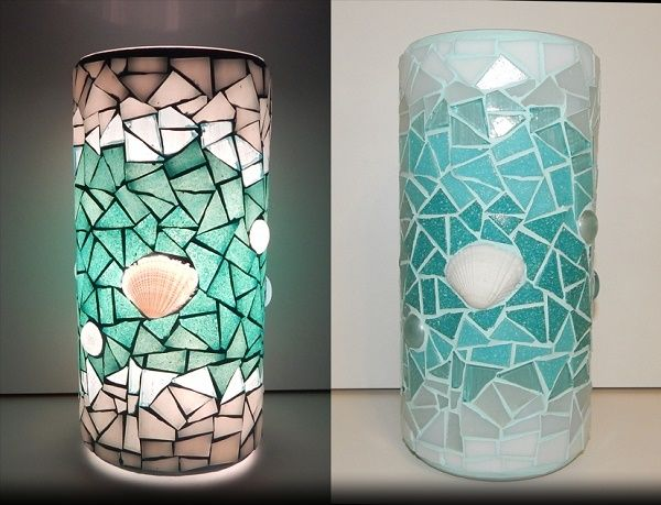 ADRIA MOSAIC LAMP;  made of: glass mosaic, sea shell; width: 11cm, height: 22cm; price: 61 EUR / 49 GBP / 69 USD;  © Gabor Abraham mosaic art