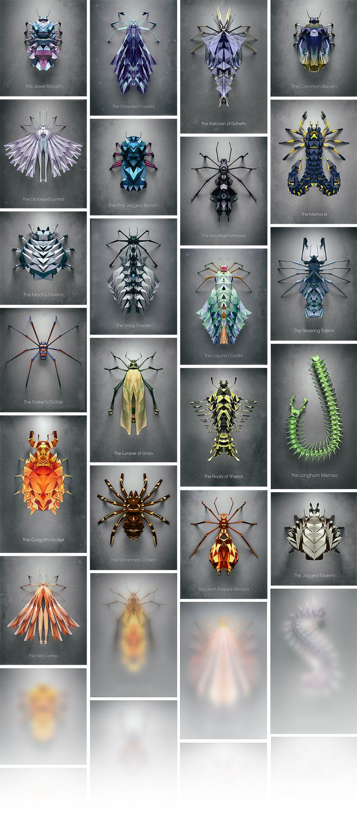 Randomly Generated Polygonal Insects by Istvan Giordano for NeonMob