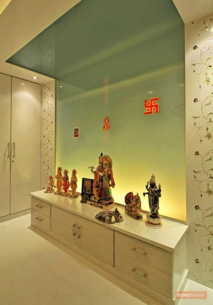 16 best puja room images on pinterest mandir design prayer room and drawing rooms for Design of mandir in living room