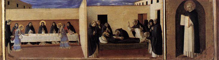 angelico. На правой части пределлы представлены сцены с Ангелами, прислуживающими монахам ордена, и Успение святого Доминика. Завершается пределла изображением святого Фомы Аквинского.