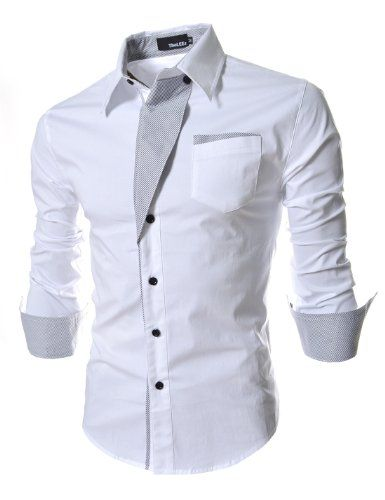 TheLees Mens Casual Long Sleeve Stripe Patched Fitted Dress Shirts White