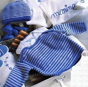 Pour les premières sorties de bébé, une marinière à emmanchures américaines et son petit bonnet assorti sont tricotés en laine fine au point de jersey : Tailles : 3 - 6 et 12 mois Aiguilles N° 2,5 et 3,5 Le pull irlandais