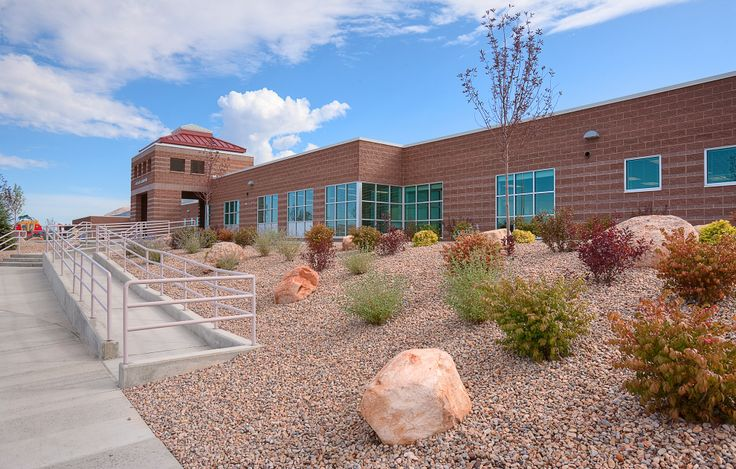 Red Cliffs Elementary, Nephi, Utah, Split Face, Smooth Face and Honed Concrete Masonry Units. Architect: Naylor-Wentworth, Lund Architects PC. Contractor: Westland Construction. Masonry Contractor: Duane Hales and Sons.