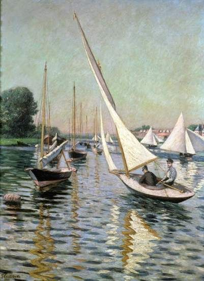 'Regatas en Argenteuil' (1893) óleo de Gustave Caillebotte presente en la exposición 'Impressionits on the Water' ('Impresionistas sobre el agua'), en el museo Legion of Honor de San Francisco, en los EE UU