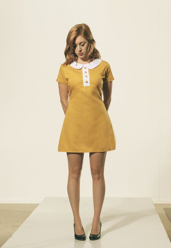 Mustard Dark Yellow Mod 1960's shift dress with White Peter Pan Collar