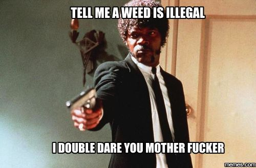 tell me a weed is illegal I double dare you mother fucker