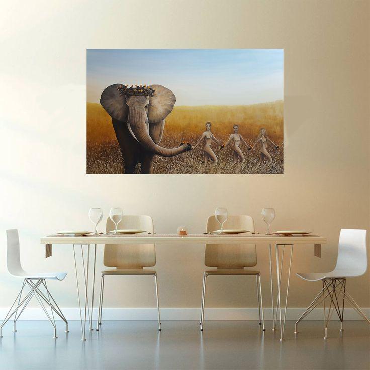 Gallerymak.com - 10.000 TL / 2.850 USD  Where Are My Friends by İpek Keylansoy - TÜYB / #OilonCanvas - 145x95  #gallerymak #yağlıboya #sanat #sanatsal #stil #oilpainting #painting #artexhibition #galeri #artgallery #fil #resim #sergi #afrika