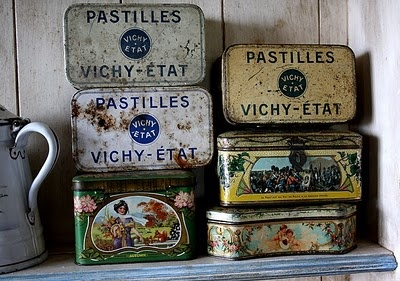 Charming, old and French tin jars