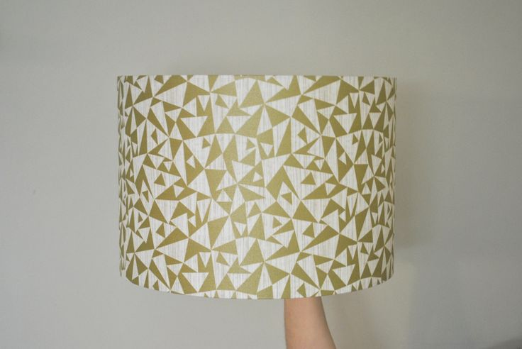 Gold and Cream Metallic Geometric Drum Lampshade | Hand Rolled | Ceiling Pendant | Floor Table Lamp | Christmas Present | Gift for Them by RukuLampshades on Etsy