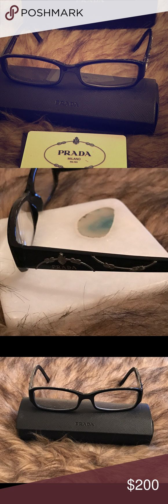 Prada glasses Authentic Prada glasses frames  I will remove the lenses and you can place prescription or non- prescription lenses They do not have tags Comes with authentic Prada card Prada Accessories Glasses