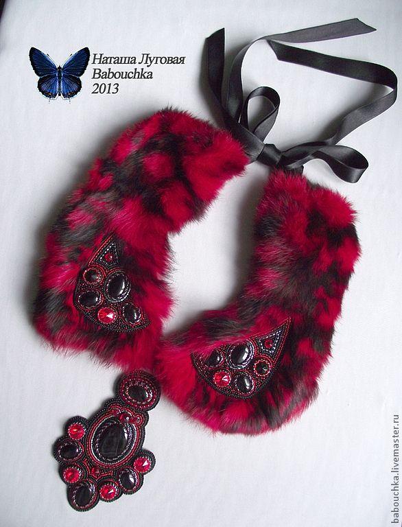 Воротник с мехом кролика Красное и черное. Handmade.