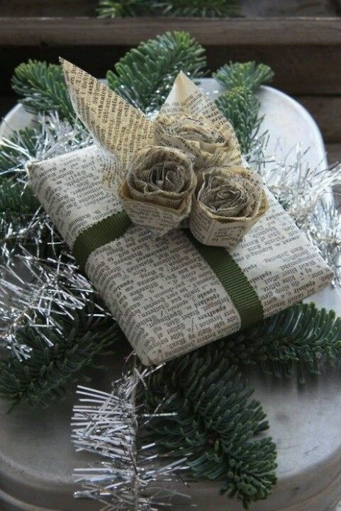 This looks so beautiful and classy! Newspaper wrapped gift