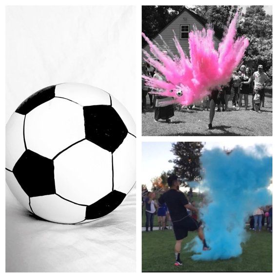 "Soccer Ball Gender Reveal!!!  ""Poof There It Is"" Baseball Softball Golf Ball Hockey Ball Football Soccer Ball Skeet Disk Shooting Target Pink Blue Glitter Powder Chalk We Do It All"
