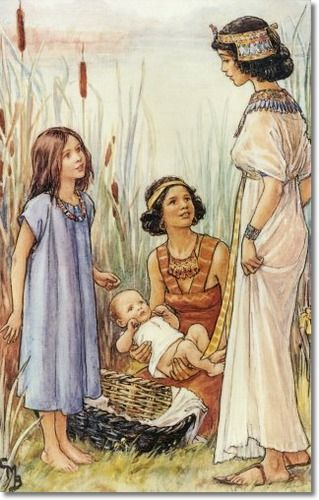 Cicely Mary Barker - Religious Works - He Leadeth Me 1936 - The Finding of Moses Painting