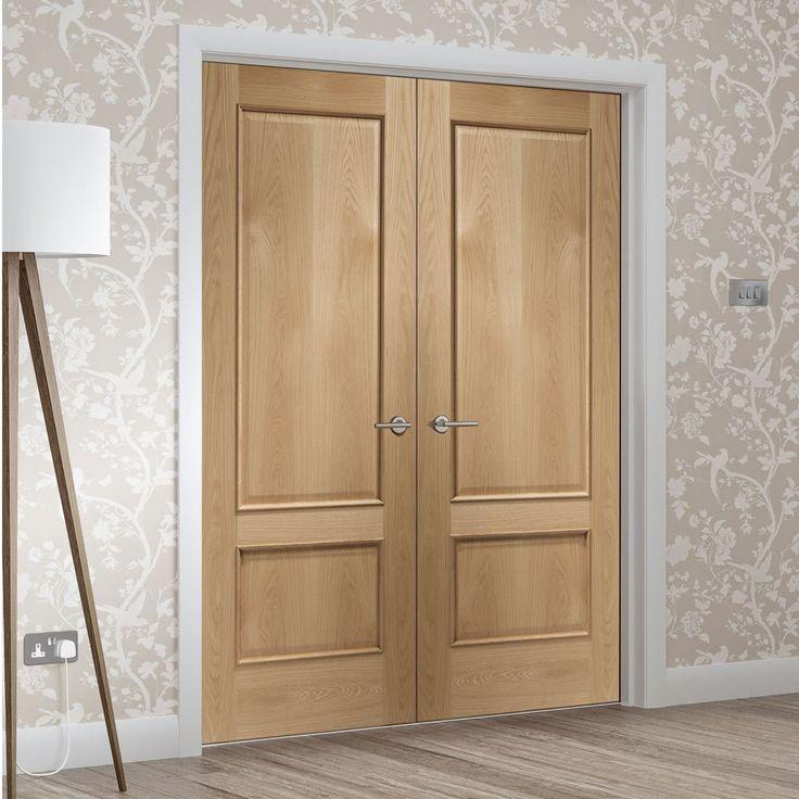 Andria Oak 2 Panel Door Pair with Raised Mouldings. #newdoors #internaldoors #oakdoor