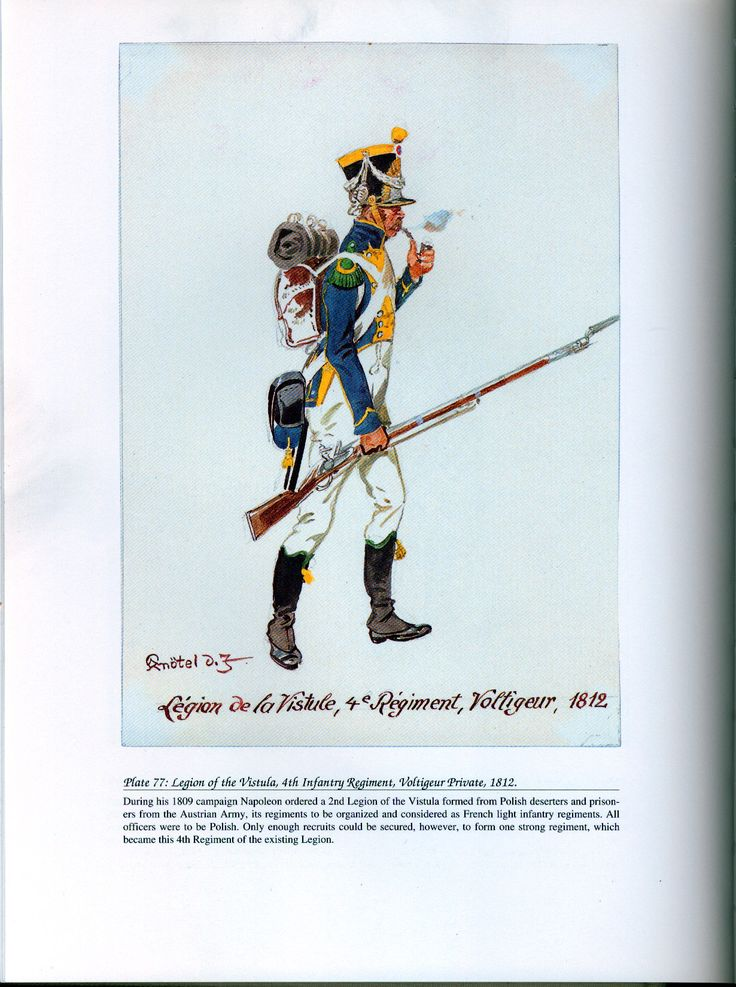 Foreign Troops: Plate 77: Legion of the Vistula, 4th Infantry Regiment, Voltigeur Private, 1812.