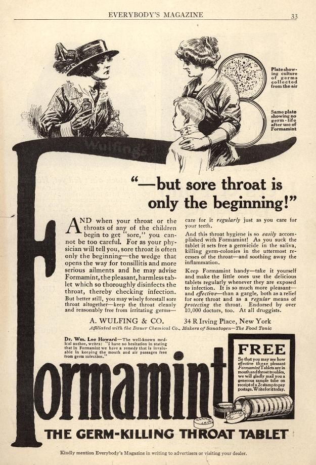 """""""-but sore throat is only the beginning!"""" Next stop: The morgue.  Kill those bad sore throat germs for they are """"the wedge that opens the way for tonsillitis and more serious ailments."""""""