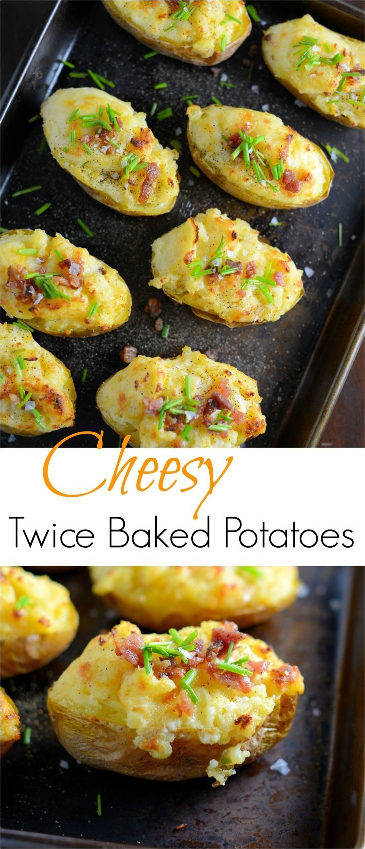 These cheesy twice baked potatoes are the BEST! My whole family gobbles them up, so I make double. The secret ingredient really makes these POP and stand out from the rest.