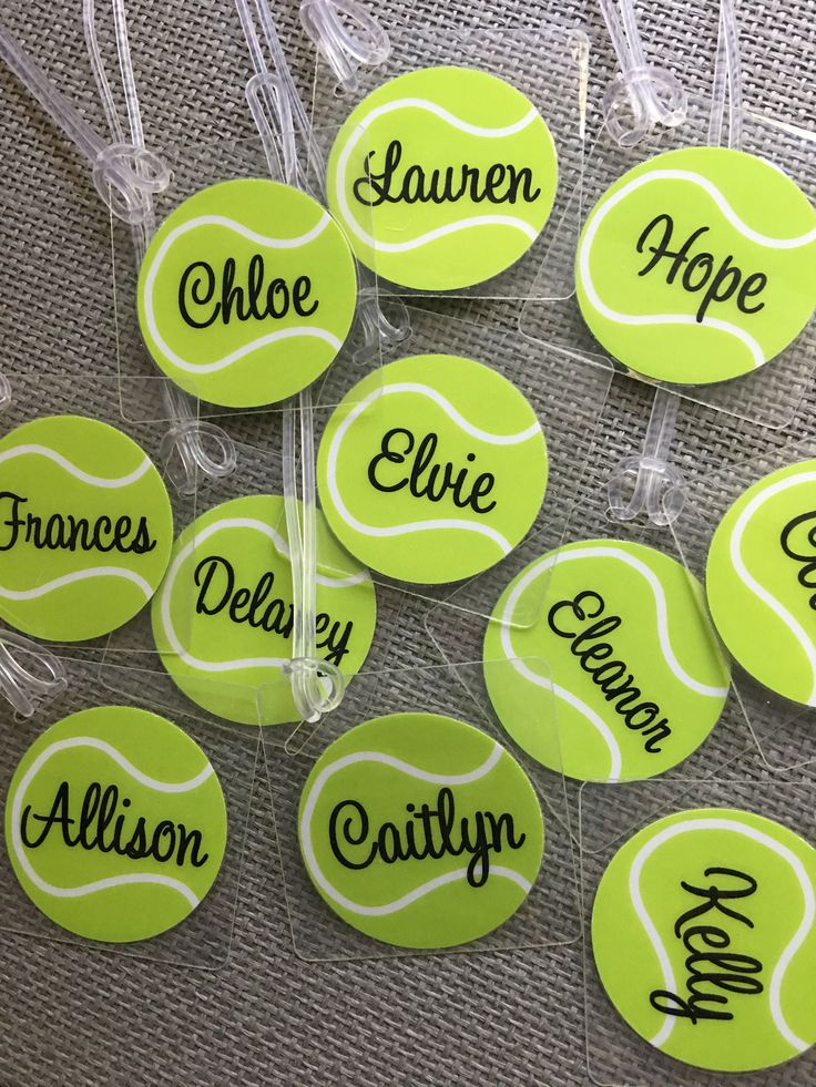 A personal favorite from my Etsy shop https://www.etsy.com/listing/165461049/tennis-bag-tag-tennis-name-tag-kids-bag