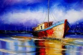 Resultado de imagem para pintura em tela barcos abstrato