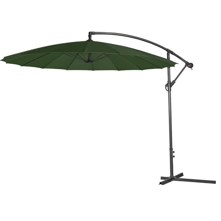 3m Singapore Cantilever Parasol Green                                                                                                               Stay shaded while you're out in the garden, and enjoy your time outside with this green cantilever Singapore parasol. Set with an ad