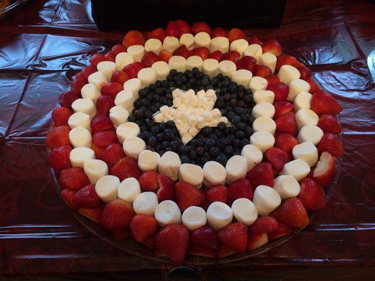 Superhero Fruit Ideas   Captain America Shield Fruit Tray for a Super Hero Birthday Party!