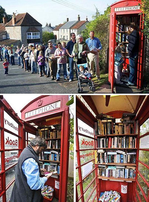 Britain's smallest library, the Westbury Book Exchange, lives in an old telephone booth.
