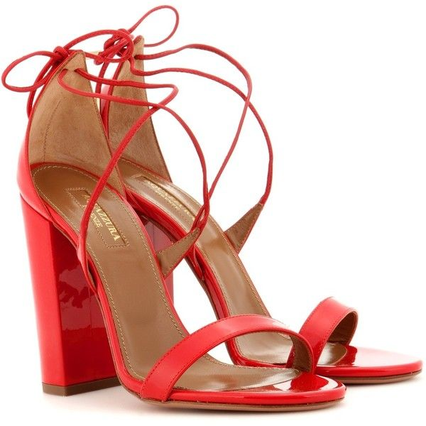 Aquazzura Lily 105 Patent Leather Sandals ($530) ❤ liked on Polyvore featuring shoes, sandals, red, patent leather sandals, red shoes, red sandals, red patent shoes and lily sandals