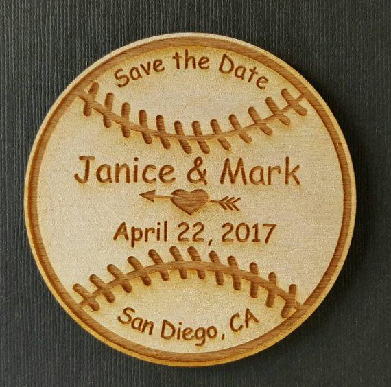 50 Baseball Wedding Favor Magnets - Bride, Groom, Save the Date, Wedding Favours