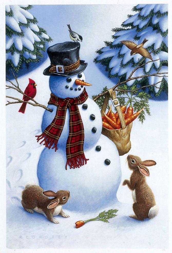 Новогодние открытки с снеговиками, анимации весенние цветы