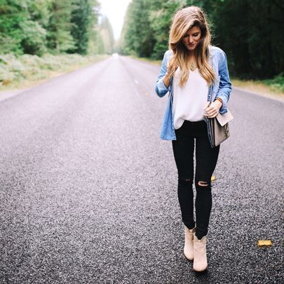 Fall staples, black Jeans outfit, chambray shirt, cute fall outfit, fall outfit idea, ankle booties and black jeans, transitional style