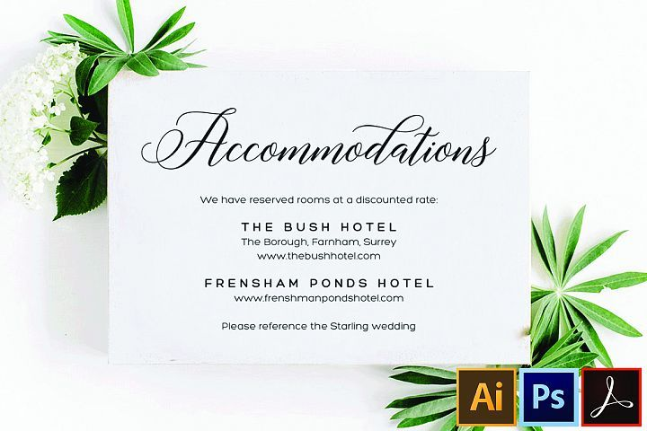 Accommodations Card Template Printable Accommodation Card 511710 Card And Invites Design Bundles In 2020 Card Templates Printable Card Template Accommodations Card