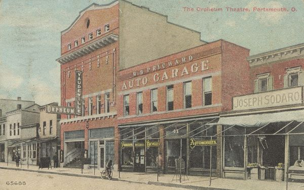 The Orpheum was located at 614 Chillicothe Street. Although mentioned in the newspaper as early as 1905, it is only listed in the city directory from 1908 to 1913 (closed June 1913). The prices were: Gallery .10; balcony .15;        lower floor .15 and .20; and boxes, .25.