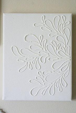 Zo simpel! Met wat lijm of kit op canvas tekenen en dan de boel 1 kleur verven.