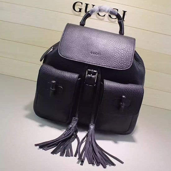 bb01ce9e3904 Gucci Bamboo Leather Backpack 370833 | Gucci Bags | Leather backpack ...