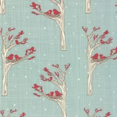 Moda Winters Lane - 2756 - Birds trees and snowflakes on duckegg - 13092-14 100% cotton fabric