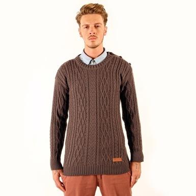 Men's Merino Wool Button Shoulder Cable Jumper