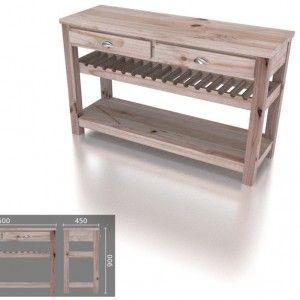 Large Wine Rack Server – 2 Drawers
