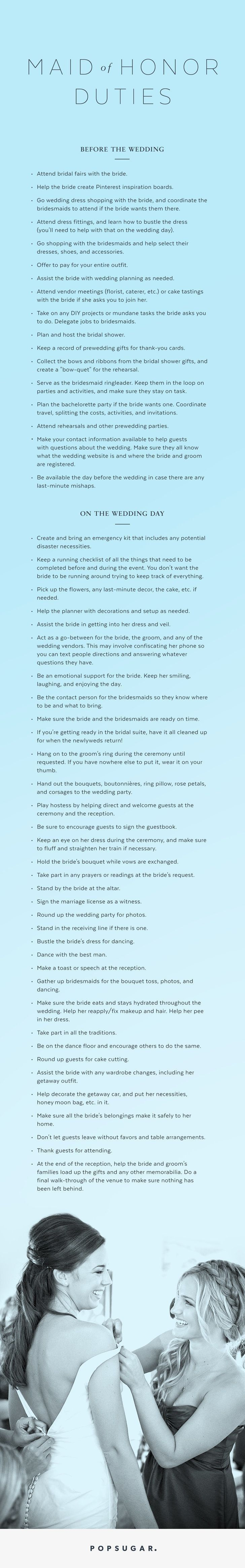 Maid of Honor Checklist to put on your to-do-list!