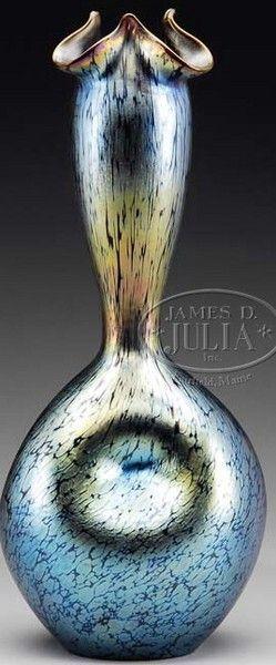 Loetz Glass; Vase, Thumbprint Base, Oil Spot, Platinum, 15 inch.