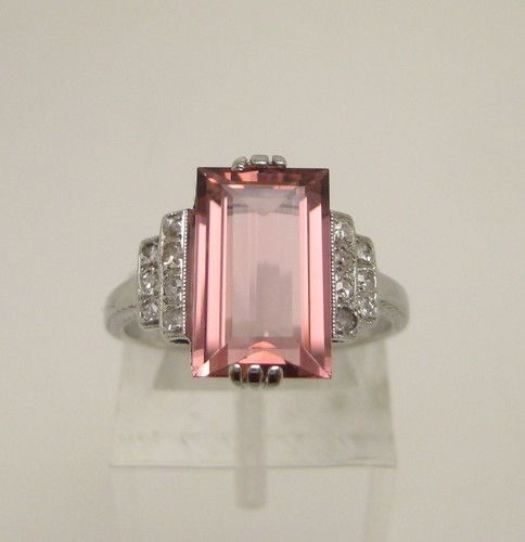 Antique Art Deco 5.5 Ct Pink Tourmaline Diamond 18K White Gold Ring