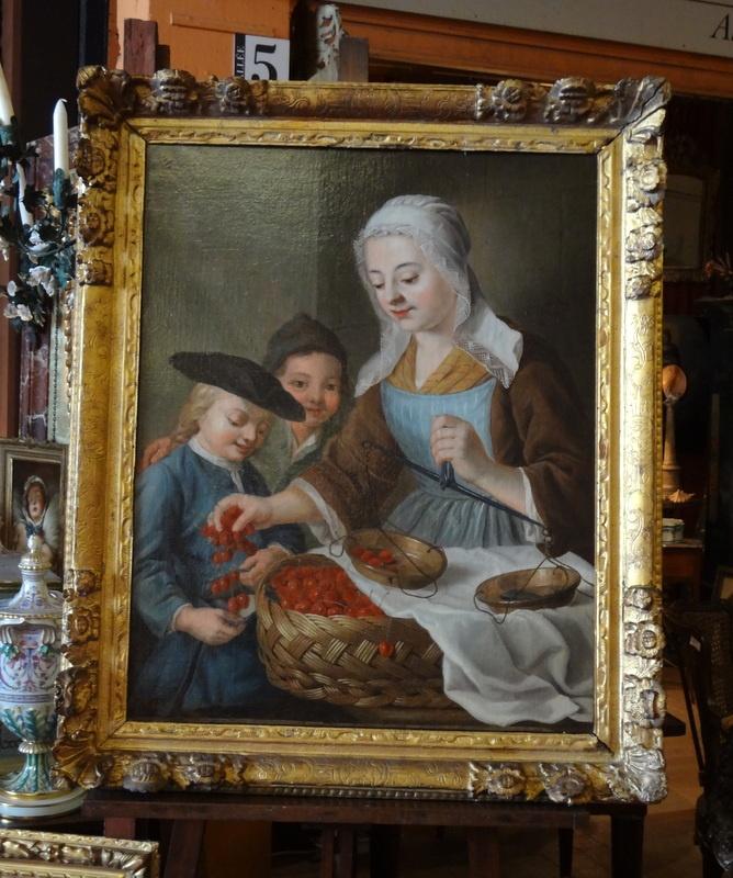 Tableau, cerises (La Maison du Roi, Proantic.com)