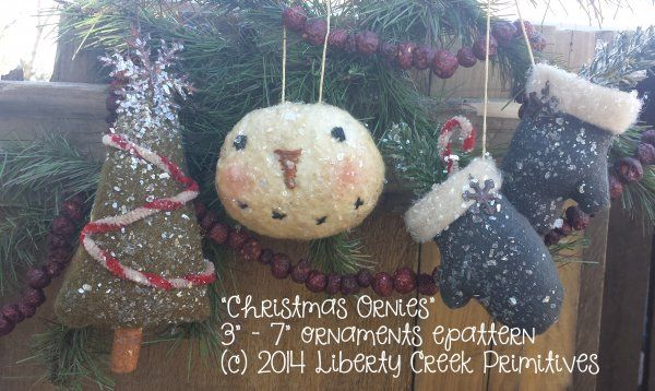 Christmas Ornies Primitive Snowman Tree and Mittens ornaments $7.50
