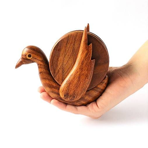 Drevené podšálky sada HOLUBIČKA | Bird Wooden Coaster