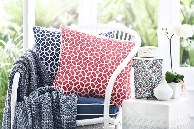 Balance a rich palette of red with harmonious layers of blues #living #bedbathntable