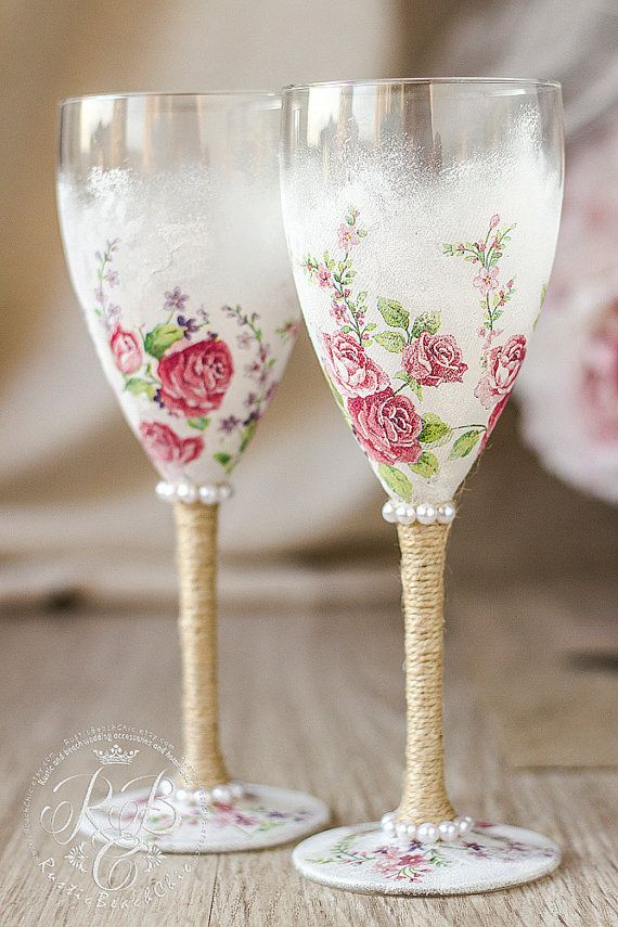 Wine glasses pink roses wedding rustic chic by RusticBeachChic