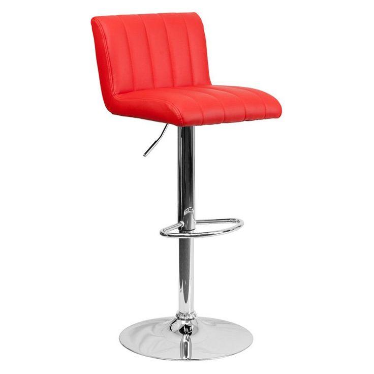 Flash Furniture Contemporary Vertical Line Design Adjustable Bar Stool With  Chrome Base   CH 112010 BK GG